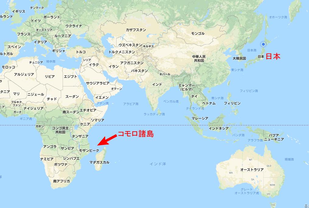 コモロ諸島の場所