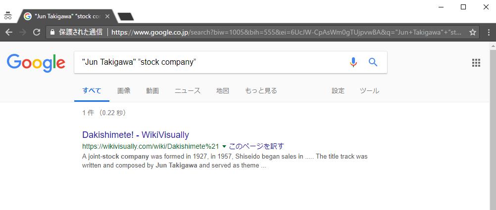 Google検索「Jun Takigawa stock company」
