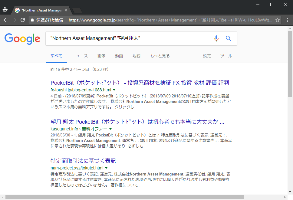"Google検索「""Northern Asset Management"" ""望月翔太""」"