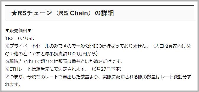 RS Chain 価格