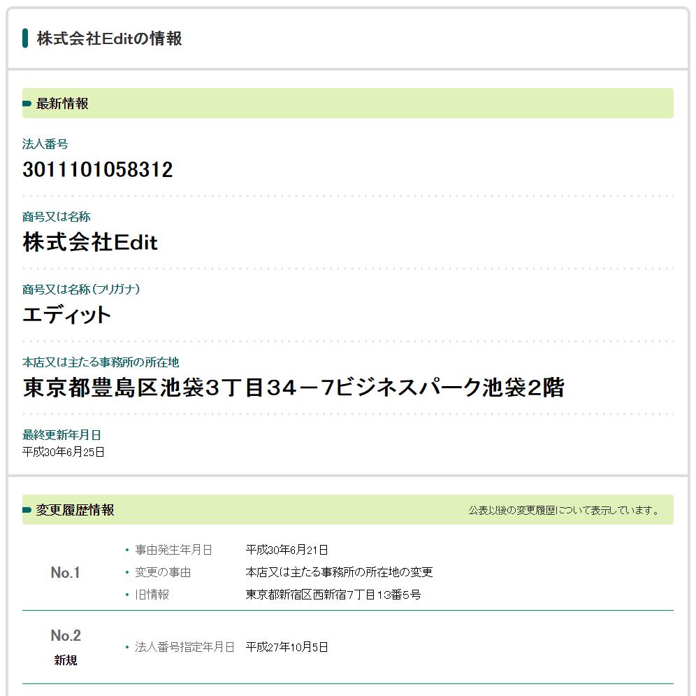 法人番号検索サイト「株式会社Edit」