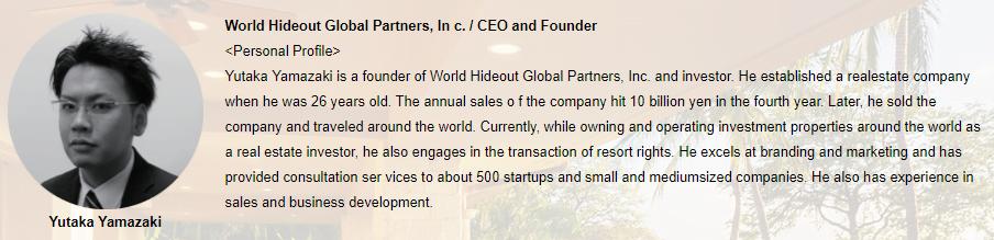 World Hideout Global Partners, Inc Yutaka Yamazaki