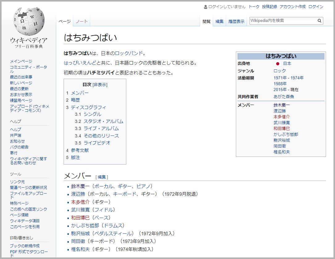 Wikipedia「はちみつぱい」