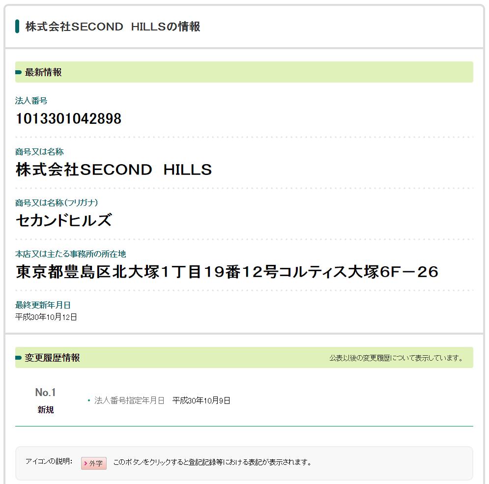 法人番号公表サイト「株式会社SECOND HILLS」