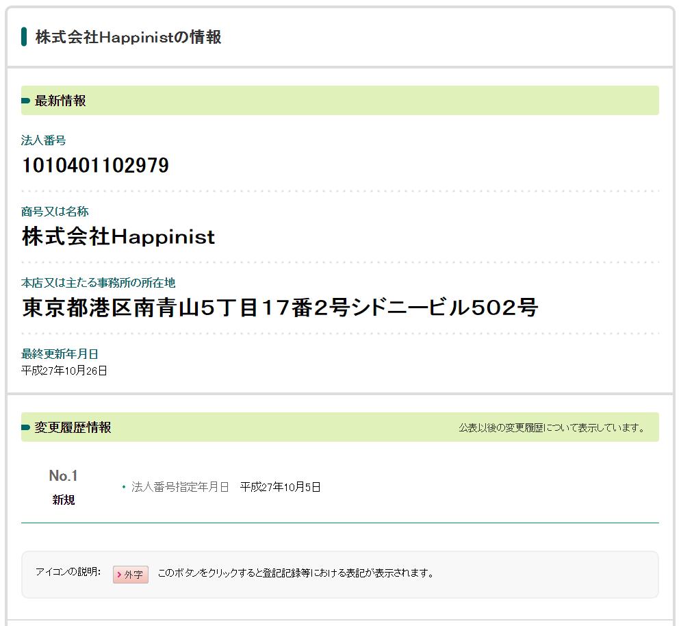 法人番号公表サイト「株式会社HAPPINIST」