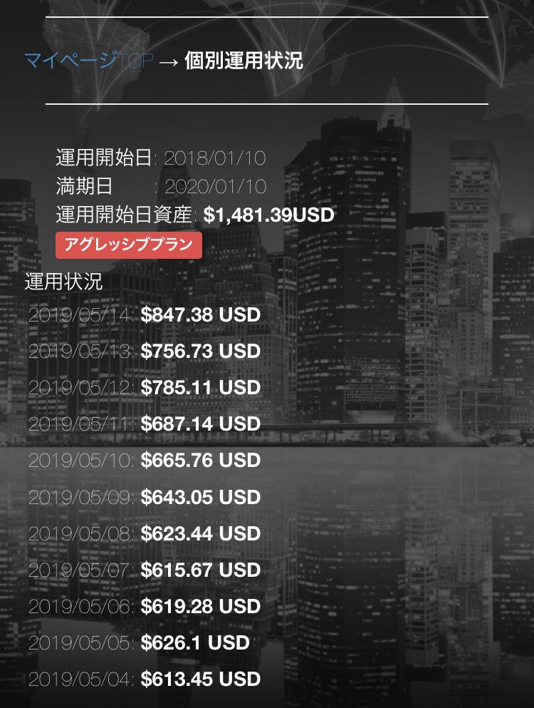 仮想通貨バンク 口座画面